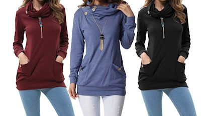 Over 3,000 Amazon Shoppers Are Obsessed With This Cozy Cowl-Neck Top — and It Has Pockets