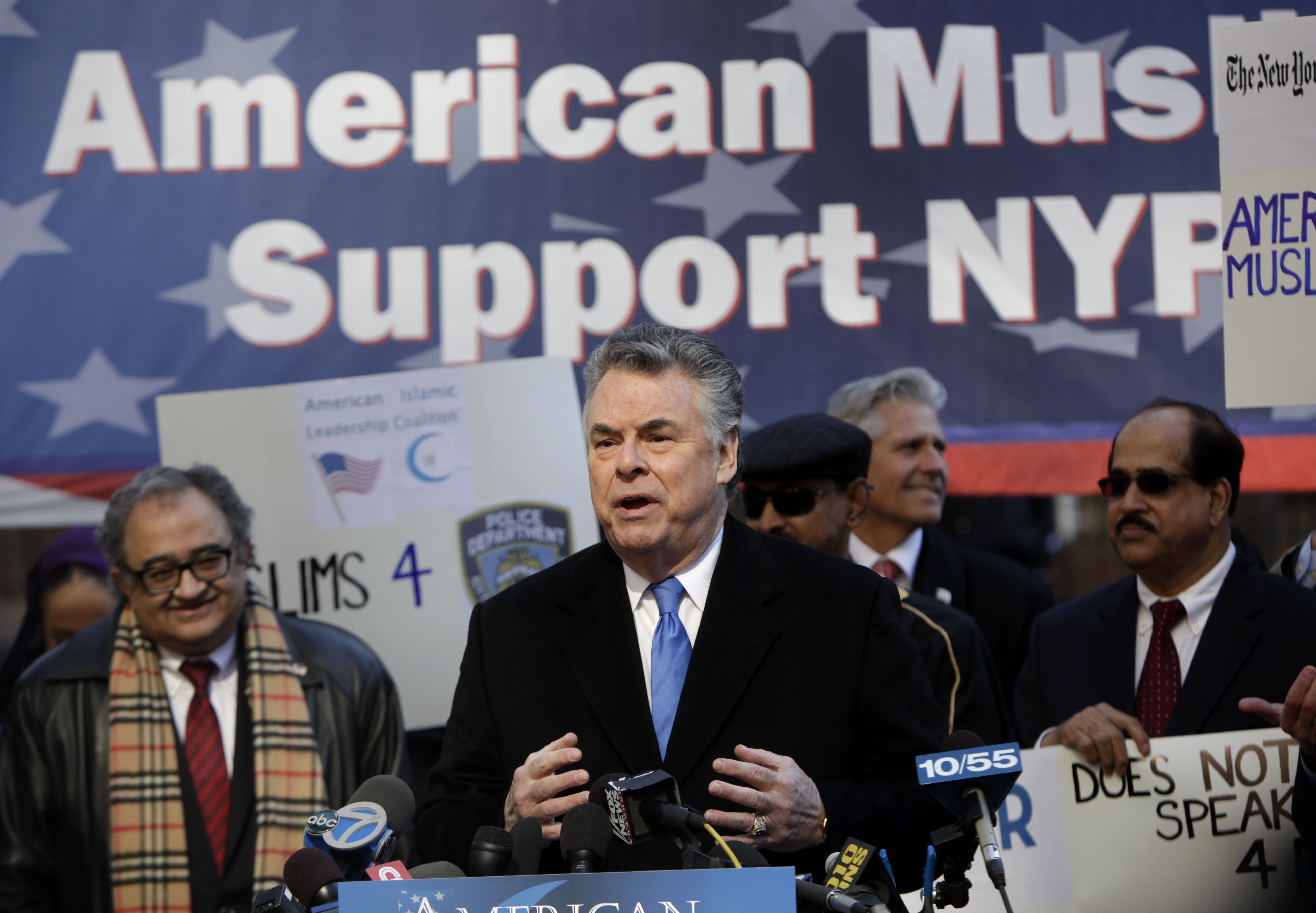 U.S. Rep. Peter King, R-N.Y., chairman of the House Committee on Homeland Security, speaks at a news conference in front of police headquarters in New York, Monday, March 5, 2012. King was present with dozens of activists to demonstrate support for the NYPD and their surveillance of Muslim communities. (AP Photo/Seth Wenig)