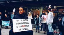 Animal rights activists protest the use of fur at London Fashion Week