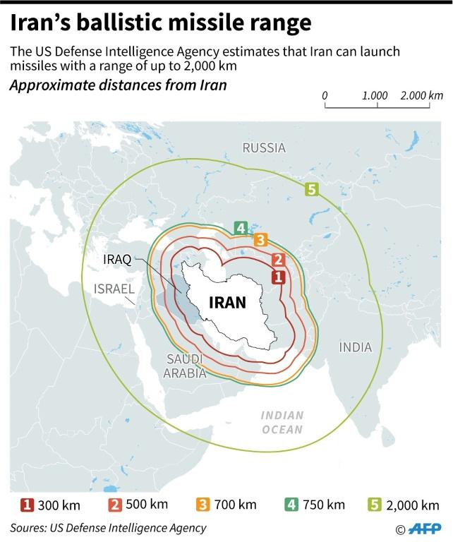 Map showing the ranges of Iran's ballistic missiles, according to the US Defense Intelligence Agency. (AFP Photo/)