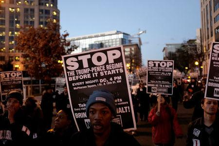 Anti-Trump demonstrators organized by RefuseFascism.org march through the streets of Washington January 18, 2017. REUTERS/James Lawler Duggan