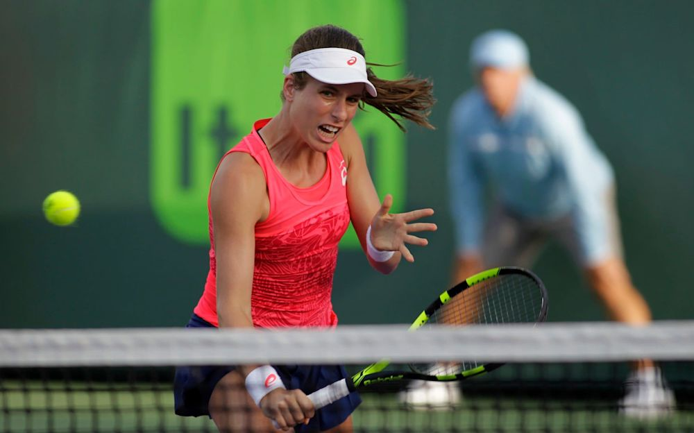 Johanna Konta in action in Miami - FR596 AP
