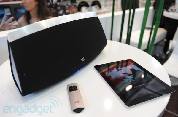 Altec Lansing shows off an iPod dock, AirPlay speaker, plus headphones for the ladies