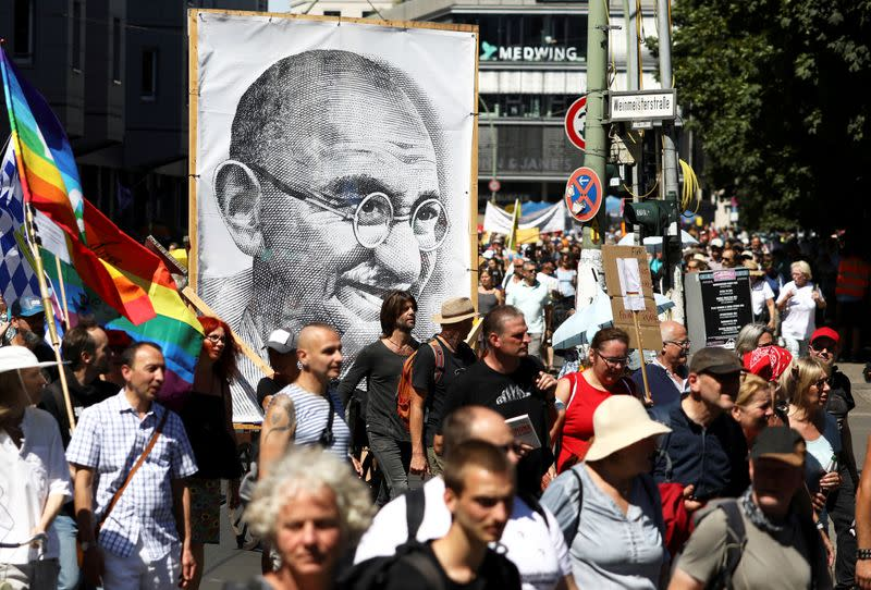 FILE PHOTO: Demonstration against the government's restrictions amid the coronavirus disease (COVID-19) outbreak, in Berlin