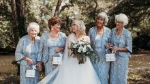 Bride enlists her four grandmothers to be flower girls at her wedding