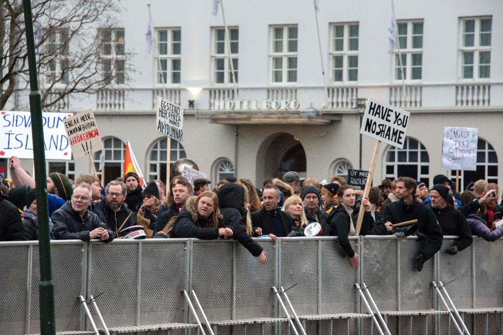 The Panama Papers implicated several senior Icelandic politicians over offshore accounts, sparking protests outside parliament (AFP Photo/Halldor Kolbeins)