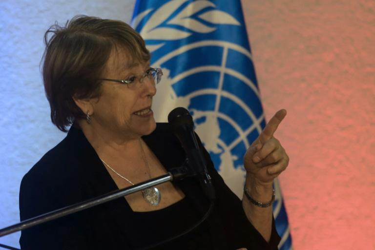 UN High Commissioner for Human Rights Michelle Bachelet called for the release of political prisoners during a visit to Venezuela (AFP Photo/Cristian Hernandez)