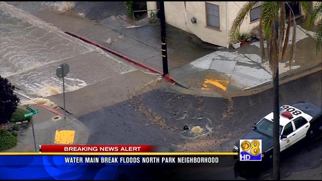 Water main break floods North Park neighborhood