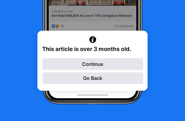 Facebook will tell you when you're about to share old news
