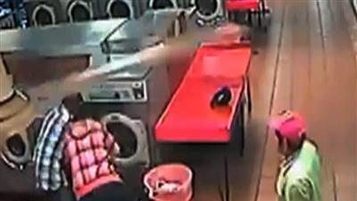Raw Video: Toddler trapped in washing machine