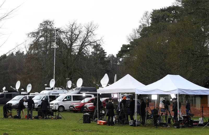 Members of the media are seen at the Sandringham Estate in eastern England