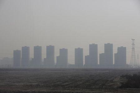 Buidlings are seen on a polluted day in Tianjin