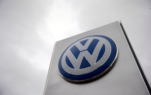 File photo of VW sign outside a Volkswagen dealership in London