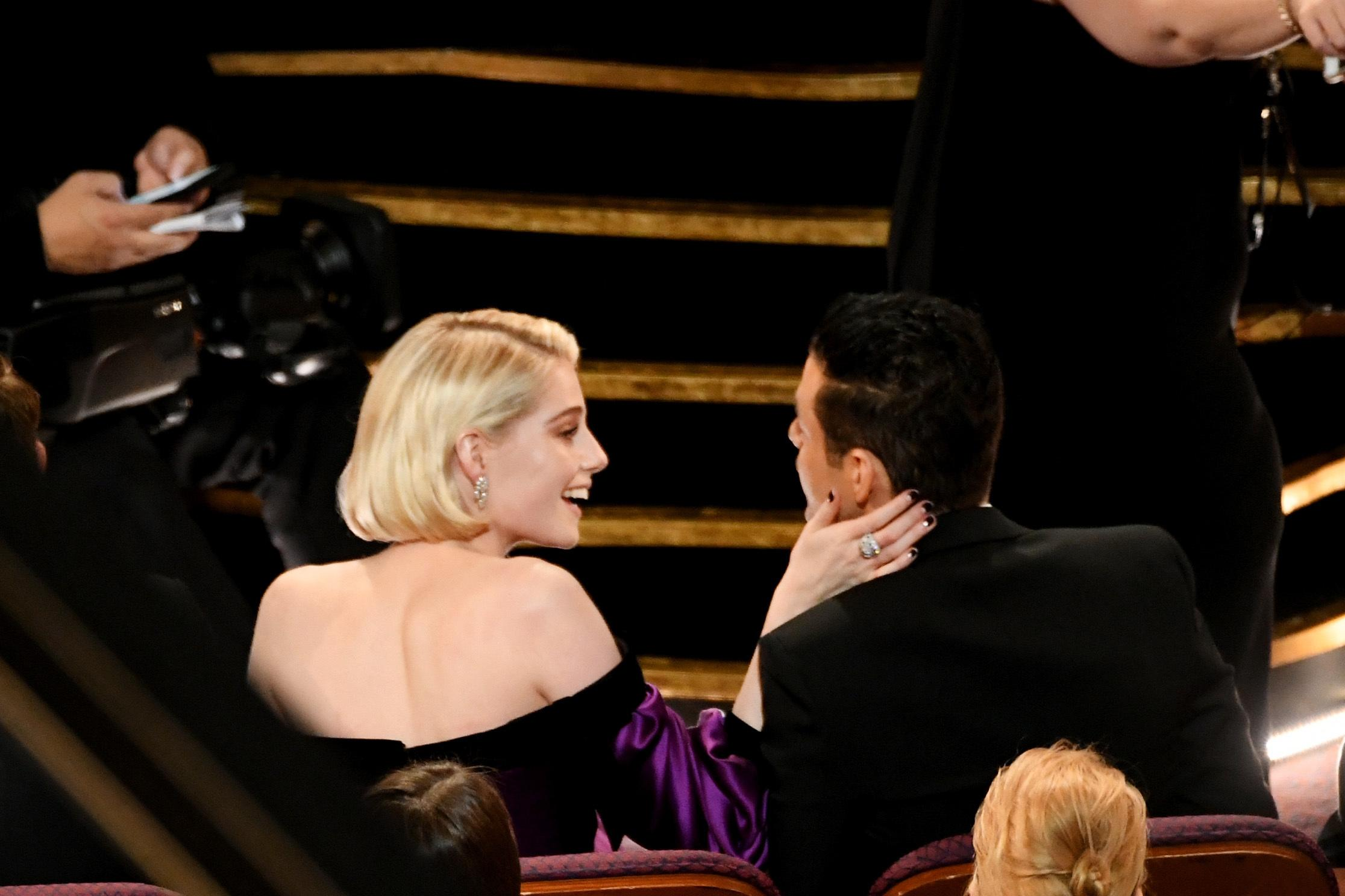 HOLLYWOOD, CALIFORNIA - FEBRUARY 24: (L-R) Lucy Boynton and Rami Malek during the 91st Annual Academy Awards at Dolby Theatre on February 24, 2019 in Hollywood, California. (Photo by Kevin Winter/Getty Images)