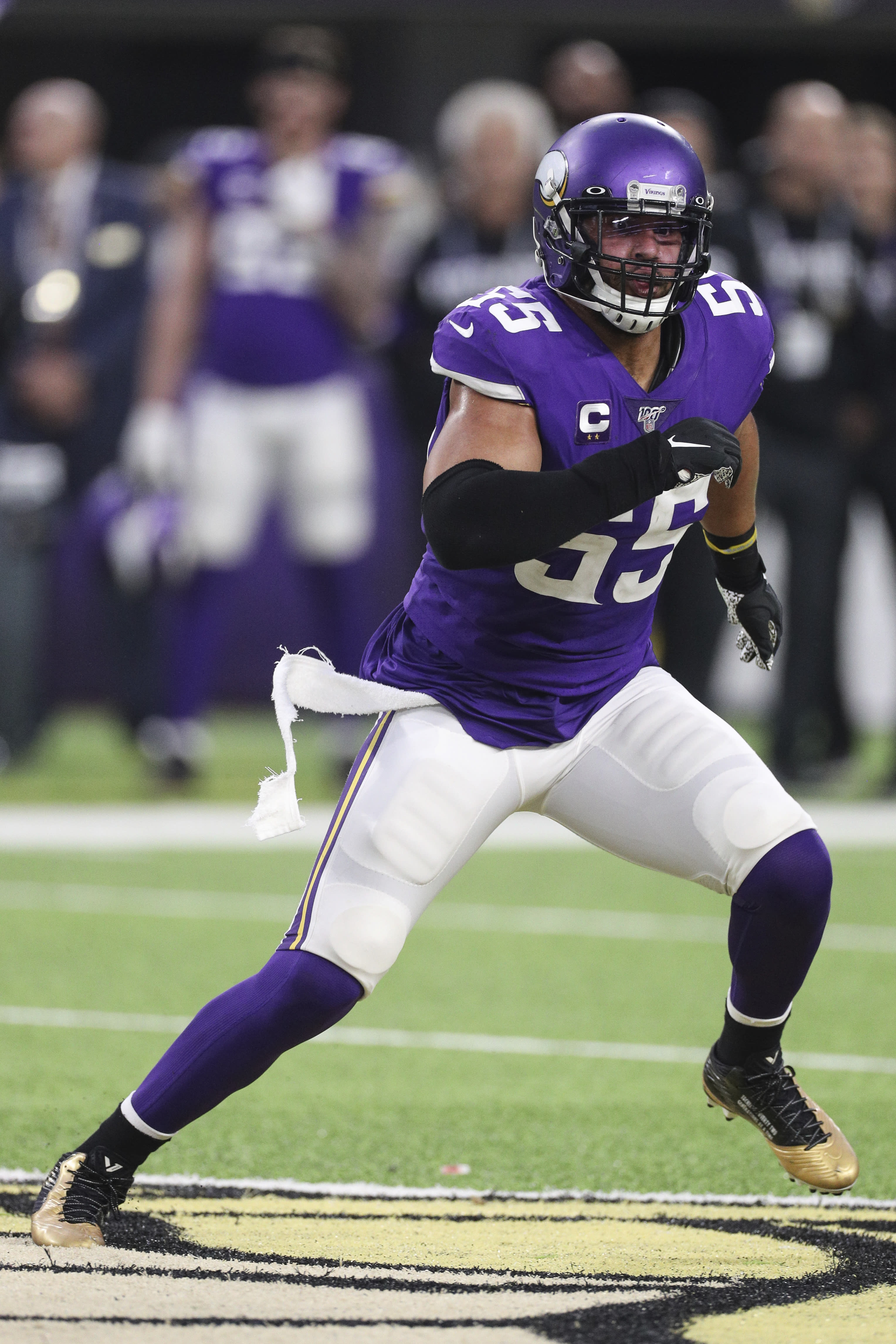 Minnesota Vikings linebacker Anthony Barr (55) takes a defensive position during an NFL game against the Detroit Lions, Sunday, Dec. 8, 2019 in Minneapolis. The Vikings defeated the Lions 20-7. (Margaret Bowles via AP)