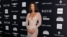 Bella Hadid defies logic in nude catsuit at NYFW party
