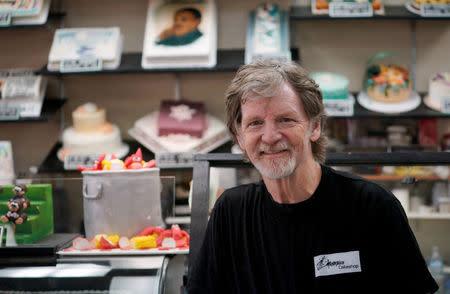 FILE PHOTO: Baker, Jack Phillips, poses in his Masterpiece Cakeshop in Lakewood, Colorado U.S. September 21, 2017. REUTERS/Rick Wilking/File Photo