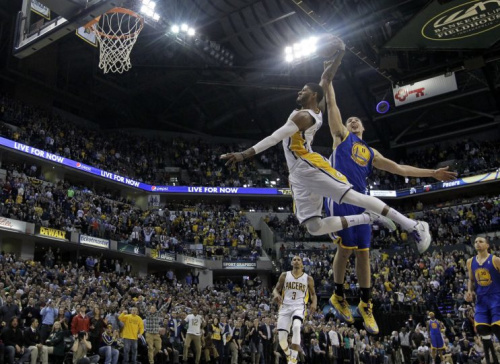 The Pacers reportedly pitched the Warriors on a Paul George-for-Klay Thompson trade. (AP)