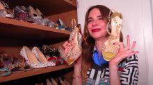 Gimenez mostra coleção de sapatos grifados e elege o ideal para usar na cama