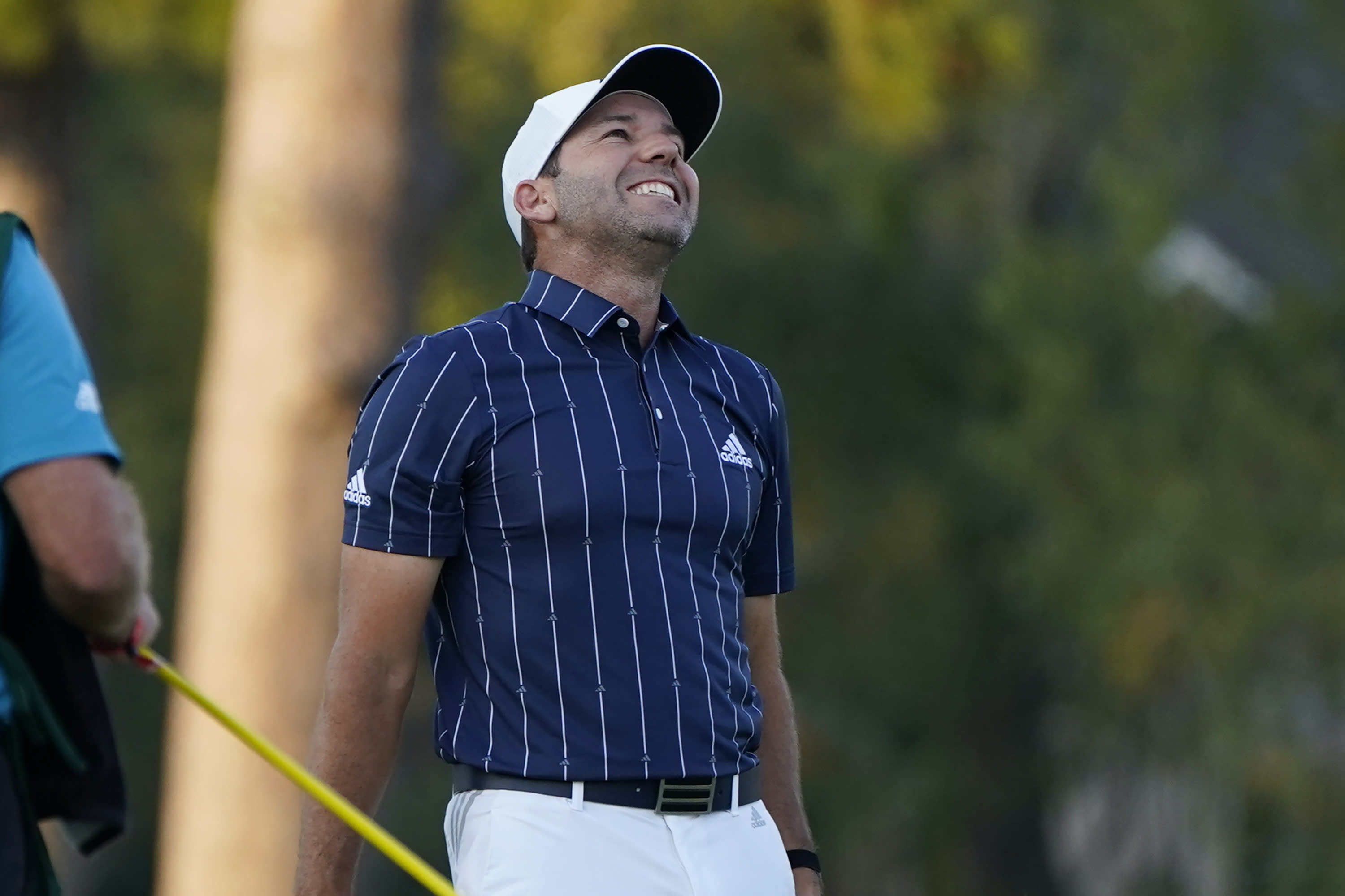 Spain's Sergio Garcia reacts after making a birdie on the 18th hole to win the Sanderson Farms Championship golf tournament in Jackson, Miss., Sunday, Oct . 4, 2020. (AP Photo/Rogelio V. Solis)