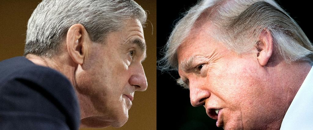 """US President Donald Trump, on the right in these combined file photos, said on Sunday, May 5, 2019 that Special Counsel Robert Mueller (L) """"should not testify"""" before Congress on his investigation into Russian interference in the 2016 elections (AFP Photo/SAUL LOEB, Brendan Smialowski)"""