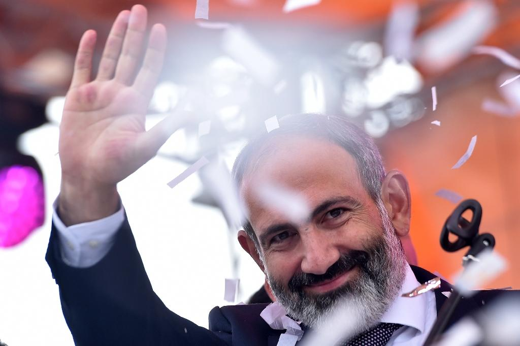 New Armenian Prime Minister Nikol Pashinyan swept to power this week off the back of mass protests (AFP Photo/Sergei GAPON)