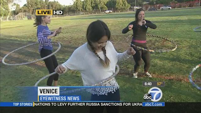 Hula hooping it up in Venice for exercise