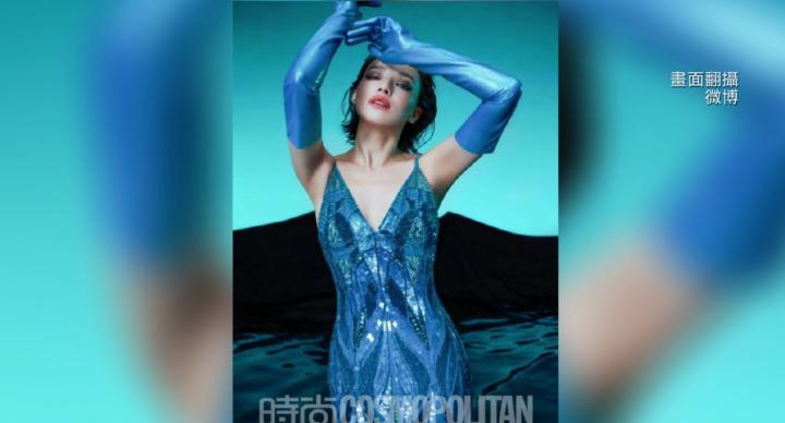 舒淇時尚穿搭 藍色手套遭酸洗碗用