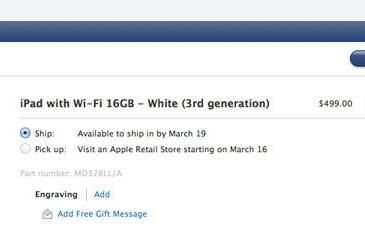 Apple's new iPad ship date slips to March 19th in the US