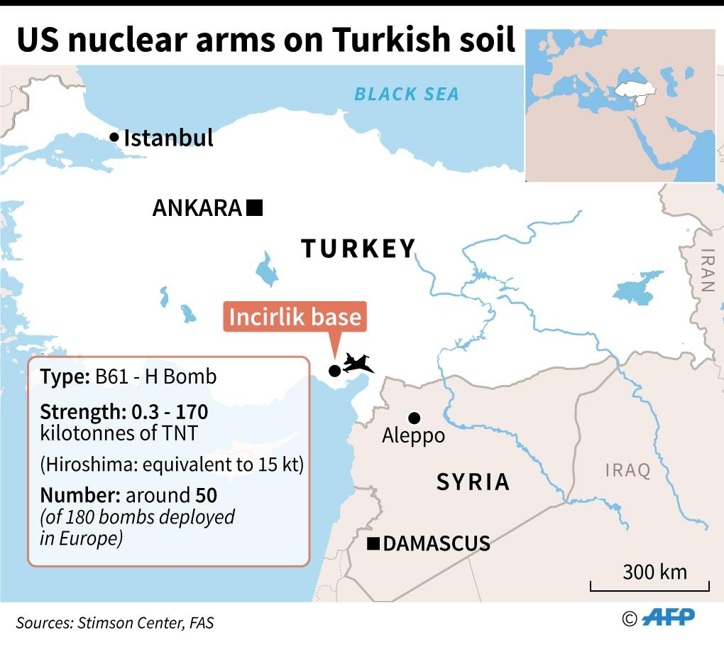 Map of Turkey with location and details of the US nuclear arsenal at the Incirlik air base (AFP Photo/Alain BOMMENEL, Jean Michel CORNU)
