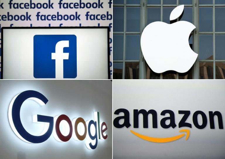 Big tech firms Facebook, Apple, Google and Amazon will be reporting quarterly results in the coming week, along with Microsoft (AFP Photo/LOIC VENANCE, Josh Edelson, STR, Emmanuel DUNAND)
