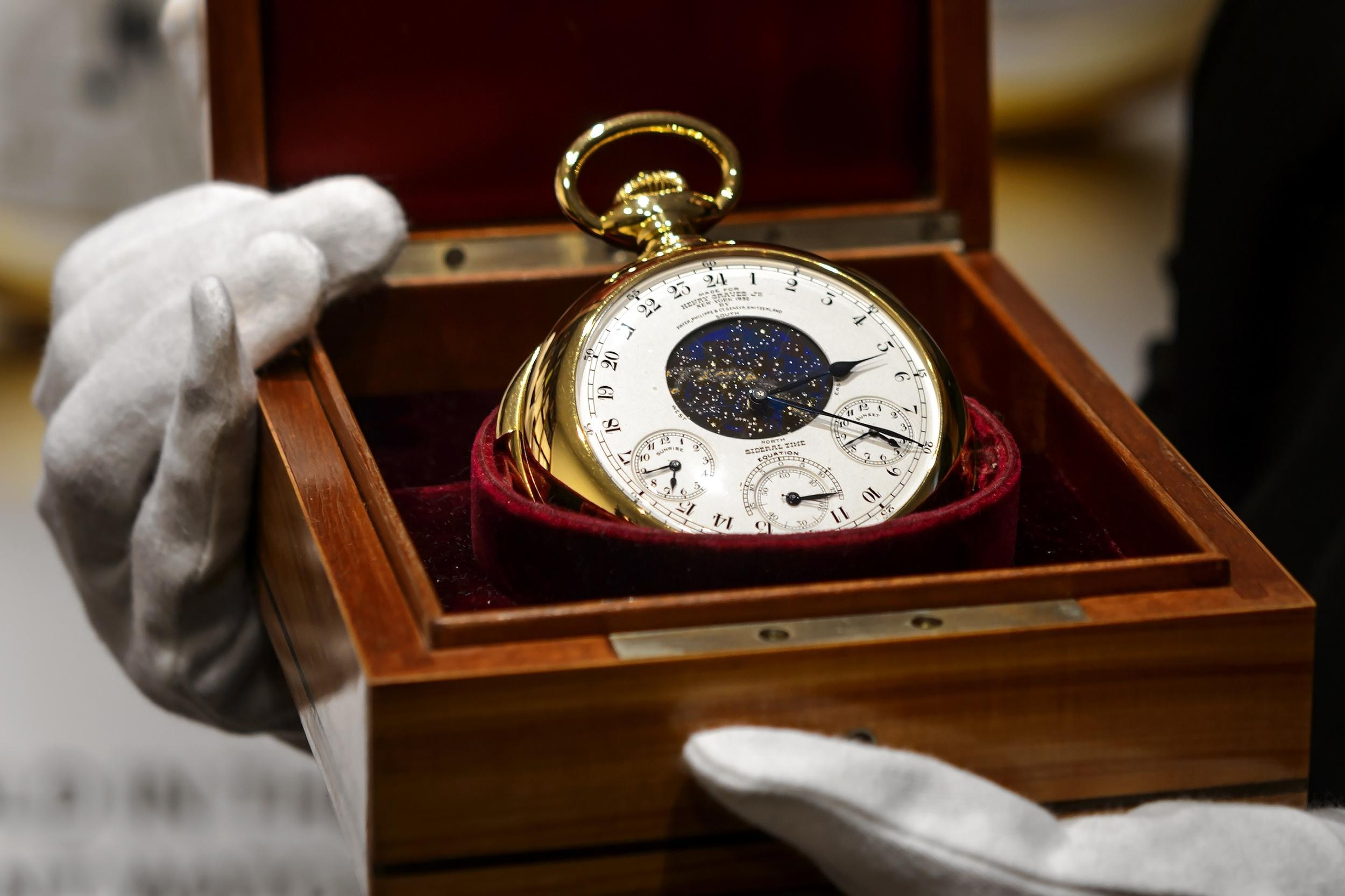 <p>The most expensive watch ever sold at auction fetched just under $24 million in November 2014. The gold pocket watch was made by Patek Philippe, and is the most complex ever made without the use of computer technology.</p>  <p>The Henry Graves Supercomplication was commissioned in 1925, and took eight years to make.</p>