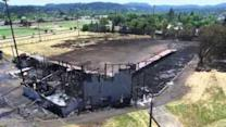 Drone Footage Shows Fire at Historic Oregon Stadium