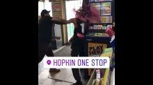 Store clerk breaks wine bottle on angry customer's head, Louisiana video shows