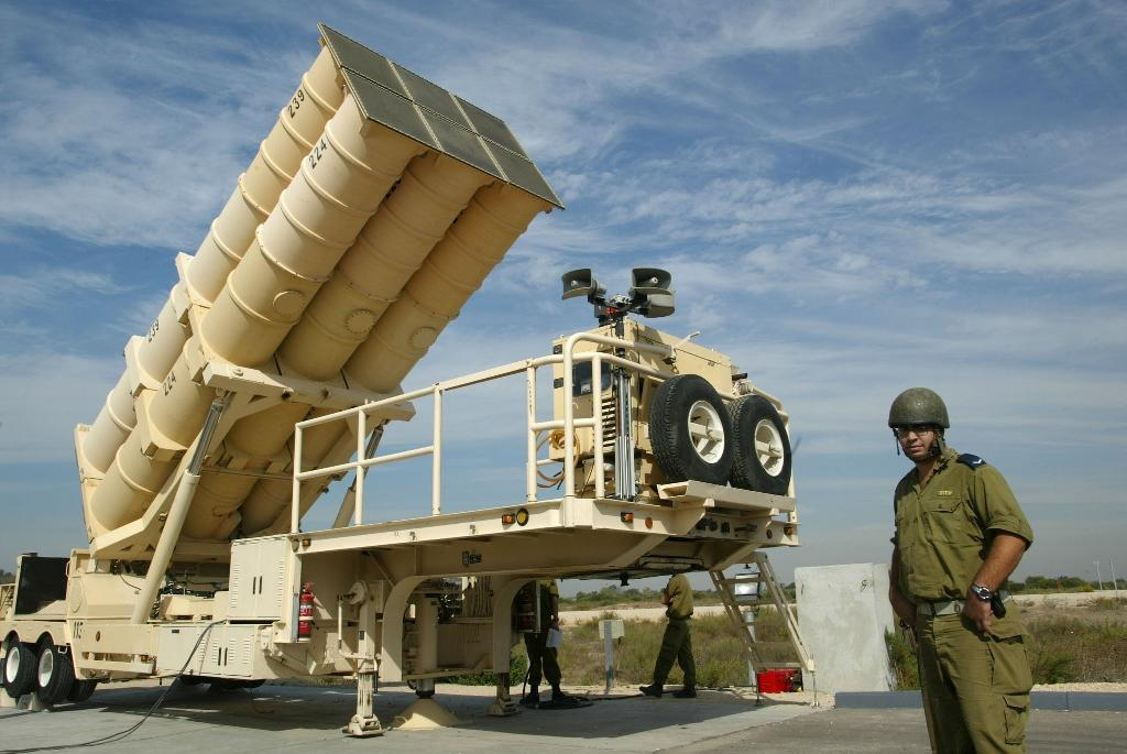 Israel carried out air strikes on Syria, prompting the launch of missiles, one of which was intercepted north of Jerusalem by Israel's Arrow air defence system (pictured)