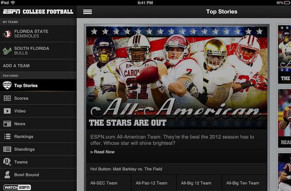 ESPN delivers College Football companion app to iOS and Android just in time