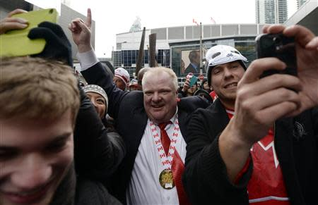 Toronto Mayor Ford celebrates Team Canada's gold medal win over Sweden in the men's ice hockey gold medal game at the Sochi 2014 Winter Olympic Games, in Toronto
