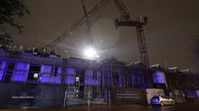 Crane snaps in half as strong winds batter Britain ahead of polling day washout