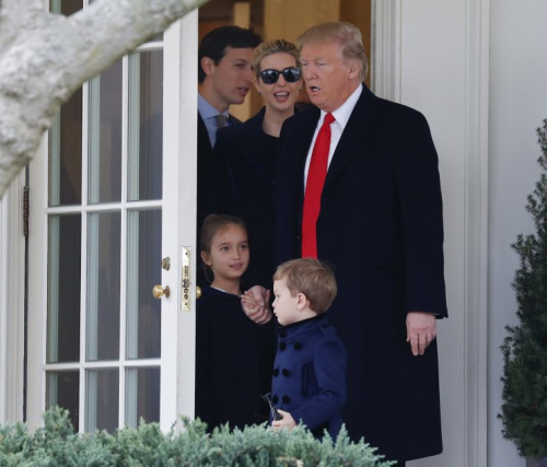 President Donald Trump and his family, daughter Ivanka Trump, her husband senior adviser Jared Kushner and their children Arabella Kushner and Joseph Kushner walk out of the Oval Office of the White House in Washington in March. (Photo: Pablo Martinez Monsivais/AP)