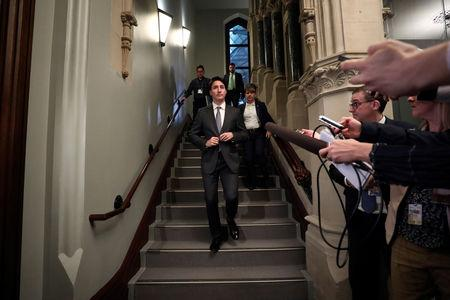 Canada's Prime Minister Justin Trudeau arrives for a Liberal Party caucus meeting on Parliament Hill in Ottawa, Ontario, Canada, April 2, 2019. REUTERS/Chris Wattie