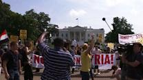 Obama Announcement Draws Demonstrators