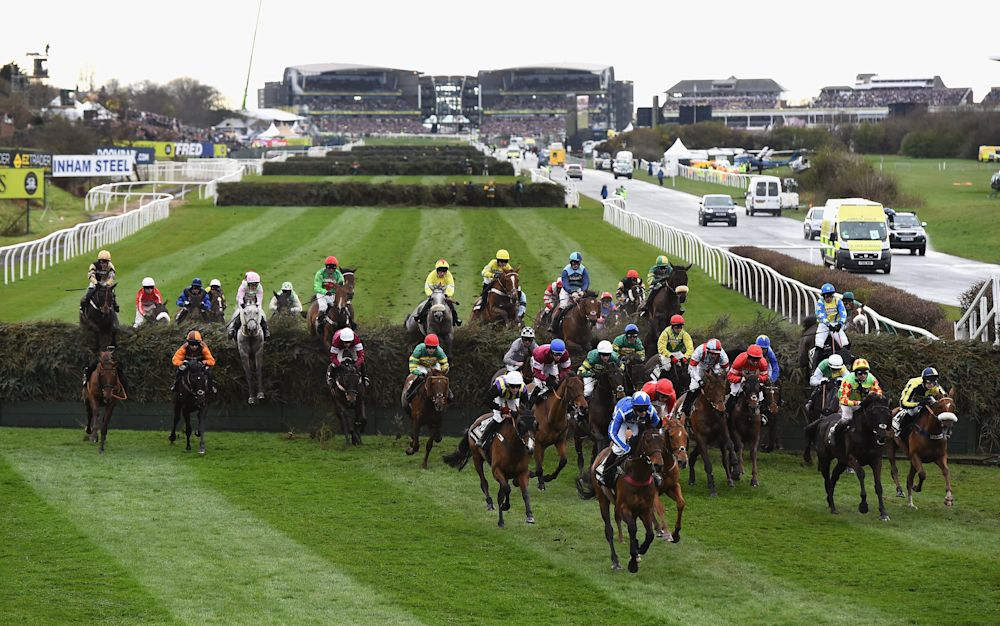 The runners make their way over the first few fences in last year's Grand National - 2016 Getty Images
