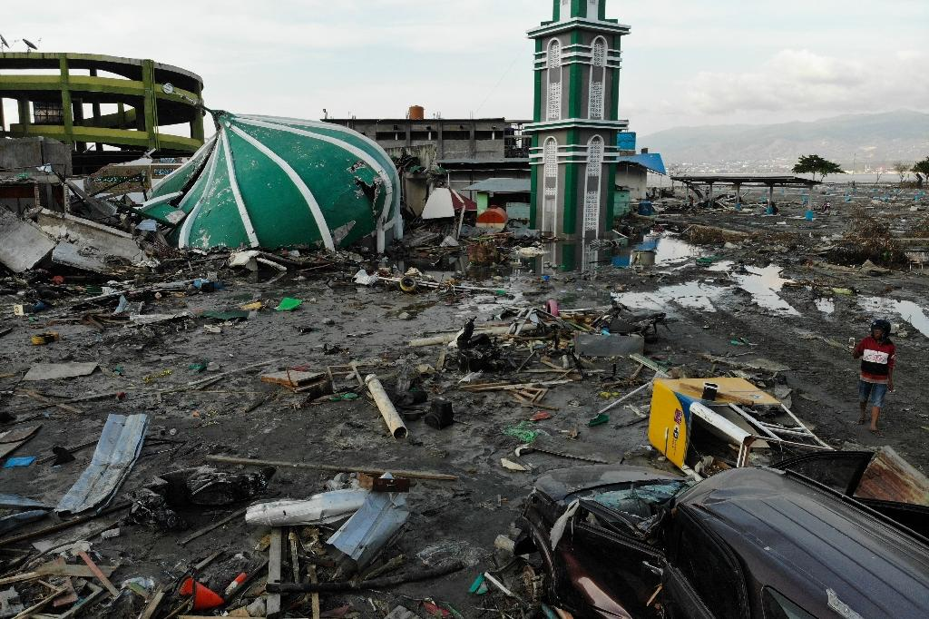 The Baiturrahman Grand Mosque in Palu was shattered in the quake-tsunami what devastated much of Sulawesi