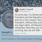 Trump facing backlash after 'lynching' tweet