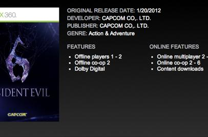 Xbox Marketplace: RE6 features 6-player online co-op, 8-player online multi [update]
