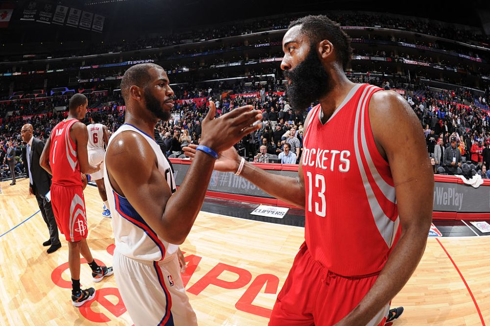 How Chris Paul and James Harden fit together on the court promises to be one of the 2017-18 NBA season's biggest stories. (Andrew Bernstein/NBAE/Getty Images)