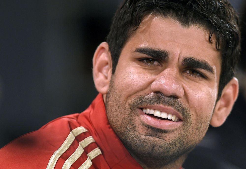 Spain's forward Diego Costa gives a press conference at the Spanish national football team's CT do Caju training site in Curitiba on June 10, 2014