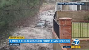 Image result for 3 RESCUED IN NEWHALL AFTER CARS CAUGHT IN FLASH FLOODING