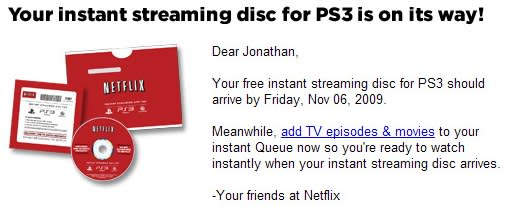 Netflix shipping out PS3 instant streaming discs!