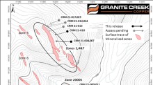 Granite Creek Copper Reports First Results from Phase 1 of 2021 Drill Program, Including 43.50 Meters of 1.40 % Copper Equivalent, at the Carmacks Copper-Gold-Silver Project in Yukon, Canada